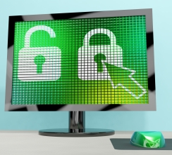 Padlock Icon On Computer Screen Showing Safety Security And Protected